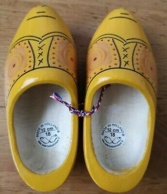 nederlandseklompen Children's CLOGS 12cm wooden mustard yellow BRAND NEW