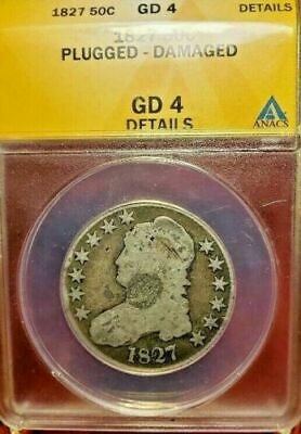 1827 Capped Bust Silver Half 50C Coin ANACS GD-4 Details