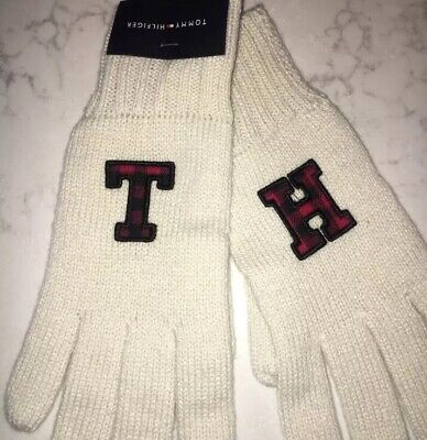 Women's Tommy Hilfiger Gloves - Cream Knit - $48 TH In Red Black Buffalo Plaid