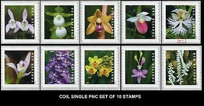 2020 US STAMP - Wild Orchids - Set of 10 Single  (10 Coil Stamps) PNC - SC#