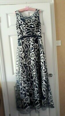 Elegant Sequinned Navy And Silver Evening Dress Size 12