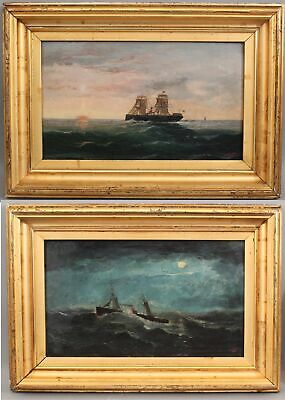 Antique 1880 WILLIAM YORKE American Maritime Steamship & Sails Oil Paintings
