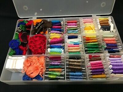 Embroidery Thread Floss Lot With Plastic Storage Box