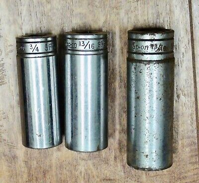 "3 pc. Snap-On Deep Sockets Two 3/8"" Drive 6 Point & 1 1/2"" Drive 12 Point"