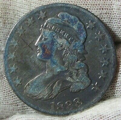 1833 50c Capped Bust Silver Half  Dollar Toned   #022433