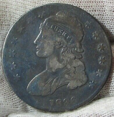 1836 50c Capped Bust Silver Half  Dollar Toned   #022436