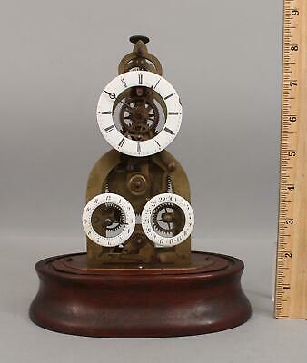 RARE Antique 19thC Miniature Skeleton Calendar Clock 3 Enamel Dials, NR