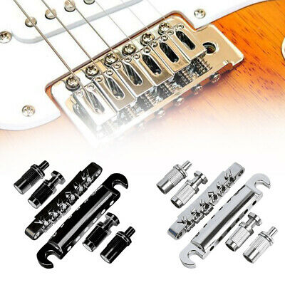 Electric guitar stop bar Tailpiece in  Chrome Black Gold TS001 including posts