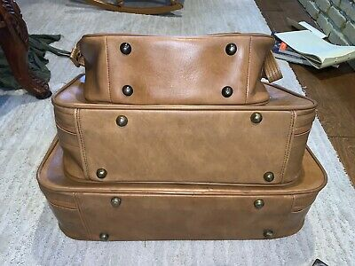 Vintage SCOVILL SUITCASE Tan Faux Leather (3) Piece Luggage