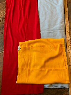 Vintage Ribbed & Plain Tube Knit Stretch~Fabric Lot~Red Baby Blue & Gold~5 Yards