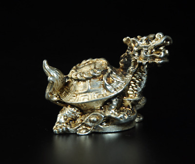 Collectable China Old Miao Silver Hand-Carved Dragon Turtle Coins Statue /Aa01