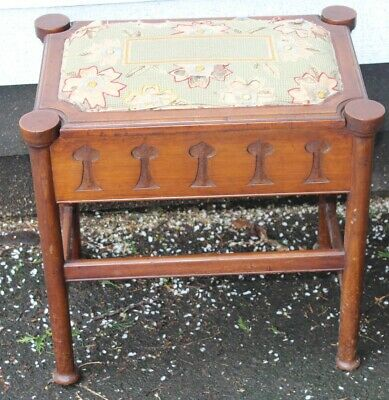 1940's - Arts and Craft Carved Oak Piano Stool