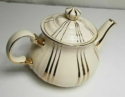 Vintage SADLER England Gold Stripes Small Windsor Teapot