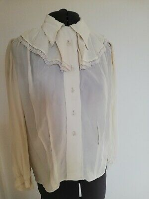 Original vintage handmade silk crepe long sleeved blouse.Glass buttons
