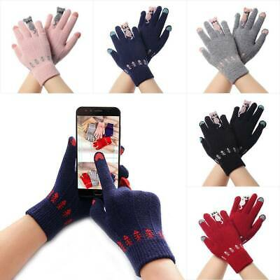 Fashion Touch Screen Gloves Women Cute Cartoon Cats Knitted Full Finger Mittens