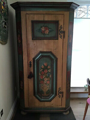 Heavy Solid Wood Antique Painted Armoire