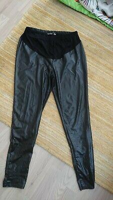 Boohoo, over the bump leather look maternity leggings, size 14.