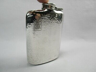 Nice Japanese .950 Sterling Silver Flask Arts & Crafts style Hand Hammered Work