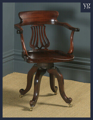 Antique English Victorian Mahogany Revolving Swivel Office Desk Study Arm Chair