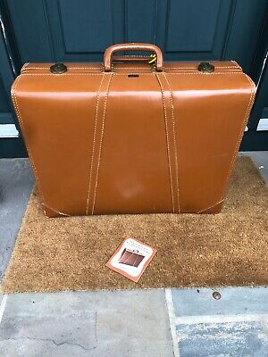 """Vintage Leather Kaufmann Suitcase Luggage Garment Bag 24"""" with Paperwork"""