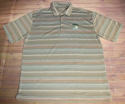Nike Fit Dry 2008 US Open Torrey Pines Golf Polo Shirt Mens Large Beige Striped