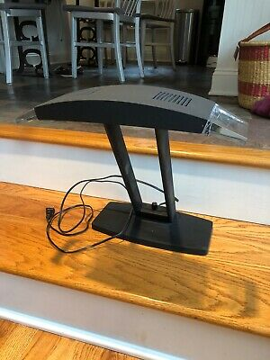 Black Metal Lucite Modern Desk Bankers Lamp dimmer Switch Exc