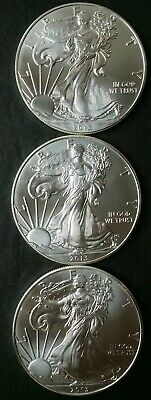 Lot of Three 2013 $1 American Silver Eagle Dollars