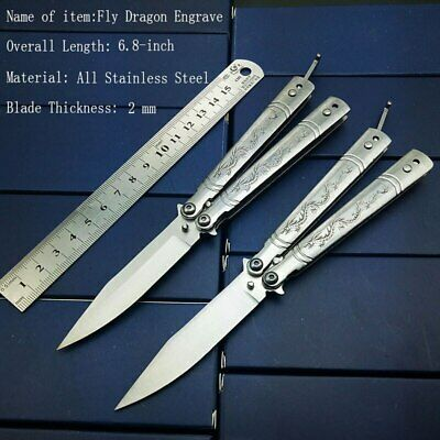 6.8 inch Stainless Steel Silver titanium Training Knife Butterfly in knife