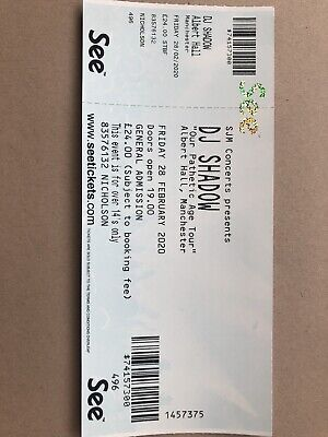 Dj Shadow Manchester Albert Hall Tickets (3 Available) Fri 28 Feb