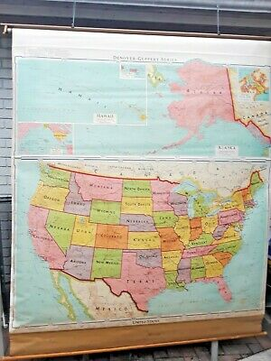 """Vintage 1964 Pull Dawn School Classroom Map of United States Wall Map 64"""" x 77"""""""