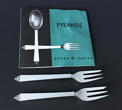2 VTG GEORG JENSEN PYRAMID Pastry Cake Oyster Forks Sterling Silver 5.5 IN No 43