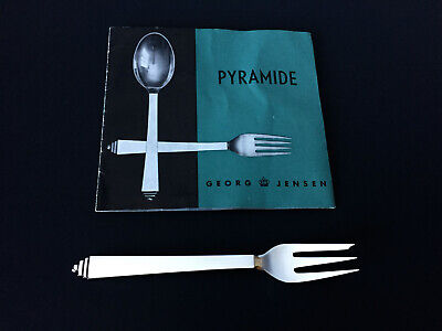 1 VTG GEORG JENSEN PYRAMID Pastry Cake Oyster Fork Sterling Silver 5.5 IN No 43