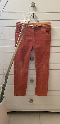 2 Pairs Girls Next Trousers Age 4-5 Red Velvet Tan Rust Cord With Belt