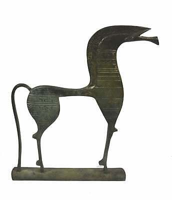 Bronze Horse sculpture statue longface with geometric pattern - Ancient Greece