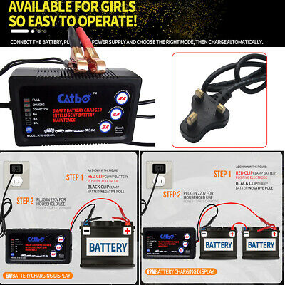 Smart LED battery charger 12V6V battery car motorcycle Automatic Cut off 2A4A6A