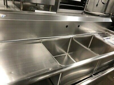 Turbo Air TSA-2-D1  -  Sink, 2-Bay with 2 Drainboards