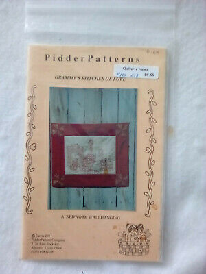 PIDDERPATTERNS Embroidery Redwork Grammy's Stitches of Love Wall Hanging