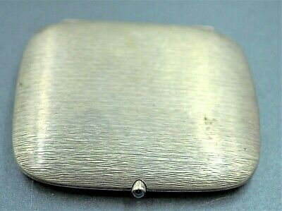 Vintage Cigarette Case Or Card Holder 800 Silver - Sapphire Fastener Bark Relief