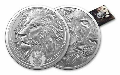 2019 SOUTH AFRICA BIG FIVE LION , 5 Rand 1 oz BU Silver Coin