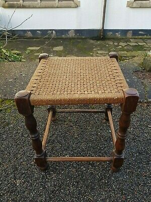 A Sweet Little Vintage Oak and Rush Seated (Seagrass) Stool with Good Legs