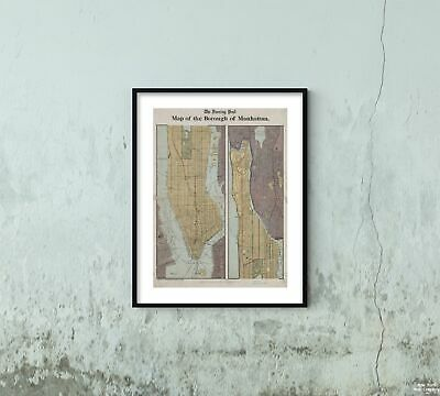 1897 Map of New York Map of the borough of Manhattan |Historic Antique Vintage R