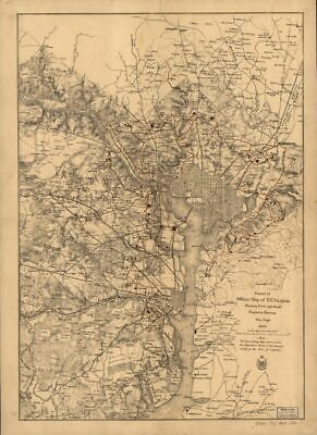 1865 map Extract of military map of N.E. Virginia showing forts and roads|Size 1