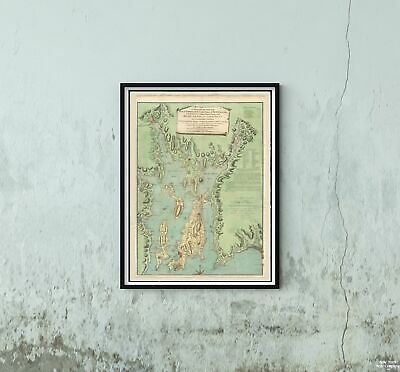 1777 Map Rhode Island|Bristol|Narragansett Bay A topographical chart of the bay