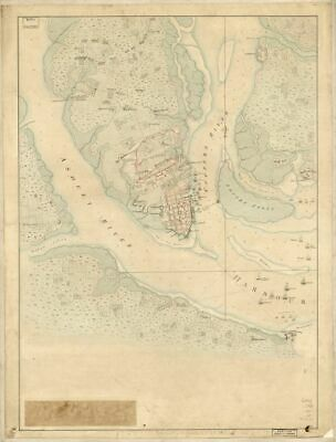 1780 map The Investiture of Charleston, S.C. by the English army, in 1780. With