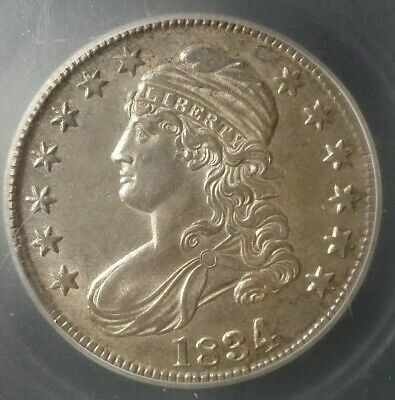 1834 50c Capped Bust Silver Half Dollar O-106 ICG AU58 Details, Cleaned