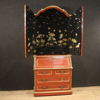 Trumeau Fore Furniture Secretary Desk Secrétaire Cupboard Wood Lacquered Antique