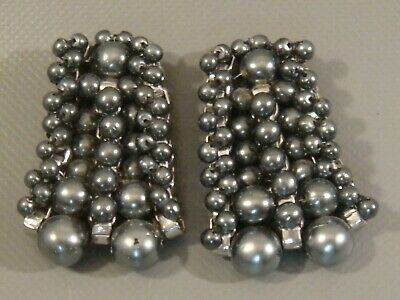 1940s Vintage BLUETTE Made in FRANCE Shoe Clips Multi Row Faux Silver Pearls