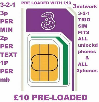 Three 3 Network Pay as You go Trio Sim card 4G, Preloaded with £10 Credit