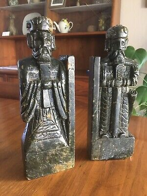 """2 Vintage Bookends Carved  Stone Statue Figure Asian Scholar Soldier 10"""" Tall"""