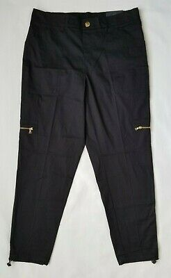 RAFAELLA Women's Black Pants Size 14 Comfort Cargo Cropped Ankle NWT